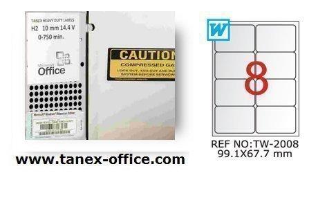 Preisvergleich Produktbild TANEX TW-2008 wetterfeste Etiketten silber 99,1 x 67,7 mm -abgerundet- 25 Bl. A4