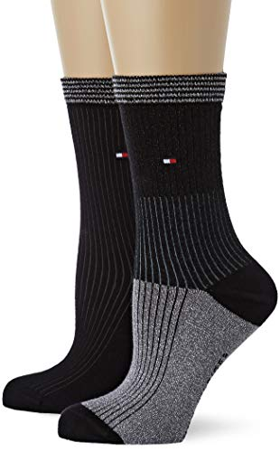 Tommy Hilfiger Damen Socken TH Women Lurex Blocking 2P, 2er Pack, Schwarz (Black 200), 39/42