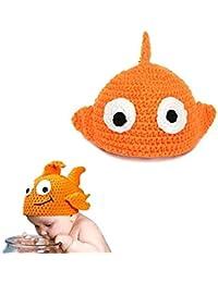 Hrph Estilo de los pescados hechos a mano del bebé recién nacido de la historieta Gorros de punto Crochet apoyos de la fotografía de camionero