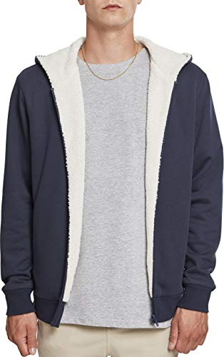Urban Classics Herren Sherpa Lined Zip Hoodie Sweatjacke, Mehrfarbig (NVY/Offwhite 01451), XL Long Sleeve Full Zip Fleece