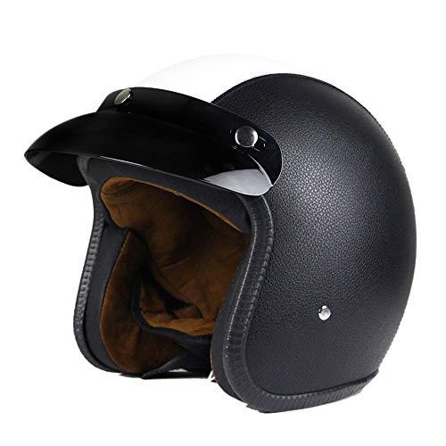 Woljay 3/4 Offener Sturzhelm, Leder Helmet Motorrad-Helm Jet-Helm Scooter-Helm Vespa-Helm Halbhelme Motorrad Helm Flat Schwarz Weiß (XL)