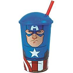 lotmart Niños Autorizado Vaso con Pajillas Superhéroes Personajes De Dibujos Animados Juguete Viaje Taza y regalos GRATUITOS lotmart PROMOCIONAL BOLI Por Paquete - Capitán América, Pack de 3