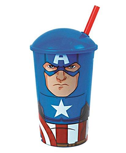 Lotmart Trinkbecher mit Strohhalm für Kinder mit Superheldenfiguren aus Zeichentrickfilmen, Lizenzprodukt, ein Werbestift von Lotmart wird pro Packung mitgeliefert, Captain America, 4 Stück