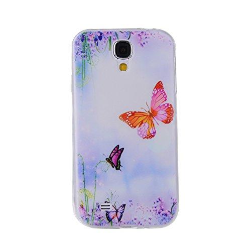 Galaxy S4TPU Fall, ikasefu Pretty White Flower Design Slim Fit Soft Gel Bumper TPU Gummi Schutzhülle für Samsung Galaxy S4, Blumen, weiß schmetterling