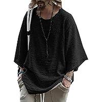 GAGA Mens Fashion Round Neck Cotton 3/4 Sleeve Plus Size Pullover T-Shirt Black S