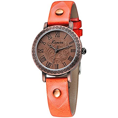 Alienwork Reloj cuarzo vintage cuarzo pulsera cadena envolver Punk Remache Piel de vaca naranja naranja YH.KW529S-04