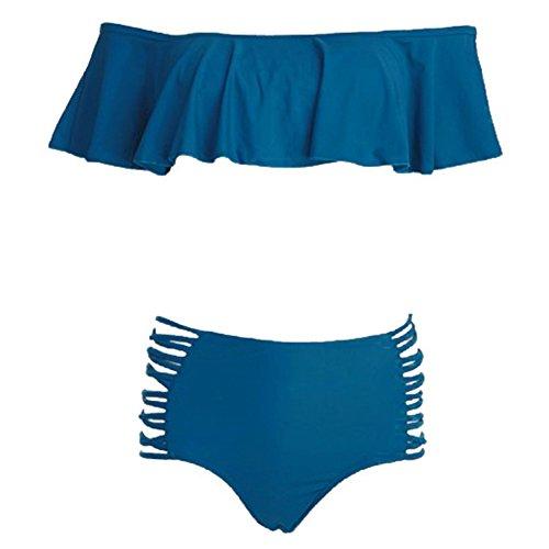 Damen Bikini-Satz Hohe Taille Push-Up Bademode Bikini Badeanzug Blau