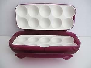 TUPPERWARE Boîte pour dix oeufs réfrigérateur pourpre rouge récipient