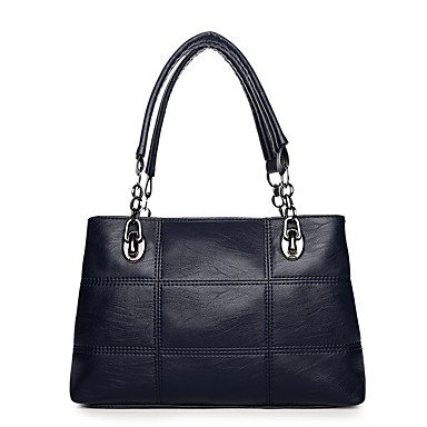 YJIUX La donna pu outdoor casual Tote,blu Black