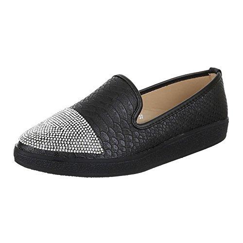 Damen Schuhe, JA54, HALBSCHUHE MODERNE SLIPPER Schwarz