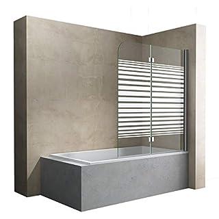 Sogood BxH:120x140cm Duschabtrennung/Duschwand für Badewanne aus Glas Cortona1408S-rechts,Badewannenaufsatz, Wandanschlag rechts, inkl. Nanobeschichtung, Badewannenfaltwand