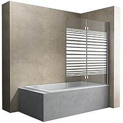 Sogood paroi de baignoire 120 x 140 cm pare baignoire 2 volets verre trempé 6mm avec bandes opaque côté droite Cortona1408S