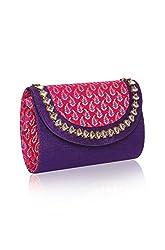 Sparkle Street Metal Clutch For Women( Purple)