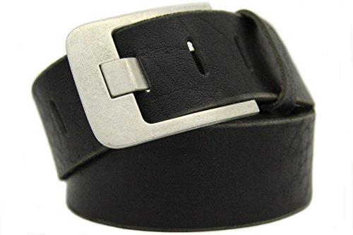 Echt LEDER Gürtel Herren Damen Büffelleder Voll-Leder Unisex Gürtel in Schwarz und Braun in 5cm Breite A (105cm, Schwarz)