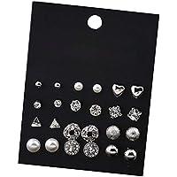 Hosaire 12 Paires Femmes Boucles d'oreilles romantique perle et Fleurs et cœur form éclat strass Bijoux Elégant Cadeau de l'amour- Argent