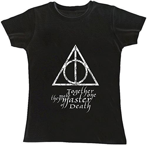 T-shirt DONNA cotone BASIC super vestibilità top qualità - I DONI DELLA MORTE harry potter cinema divertenti humor MADE IN ITALY (S, NERO)