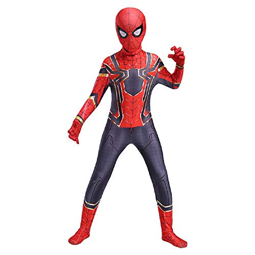 Diudiul Luxus Kids Superheld Spiderman Kostüme für Kinder Action Dress Ups und Zubehör Party Cosplay Kostüm (S(110-120cm), Rot ()