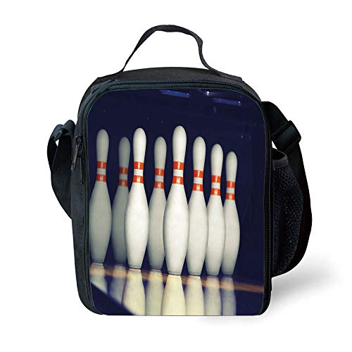 MLNHY School Supplies Bowling Party Decorations,Classical Pins on Alley Competition Pursuit Leisure Time Decorative,Dark Blue White Red for Girls or Boys Washable