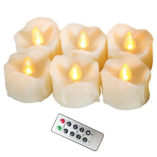 Erosway Flammenlose Kerzen, realistisch Flackernde LED Teelichter elektrische Kerzen, 300 Stunden Nonstop Leuchten mit Fernbedienung und 2/4/6/8 Stunden-Timer. Elfenbeinfarbe. 6 Stück/Paket - Kleiner Adventskranz Künstliche