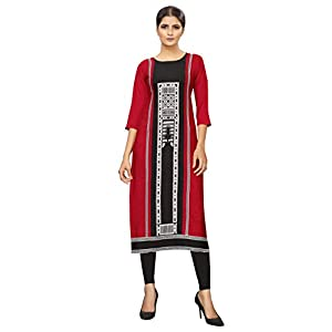 1 Stop Fashion Women's Red Colour Crepe Digital Print Knee Long W Style Kurta/Kurti