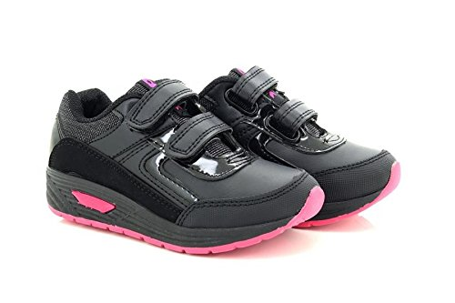 Dek Girls Faith Black Pink Touch Fastening Trainer Shoes