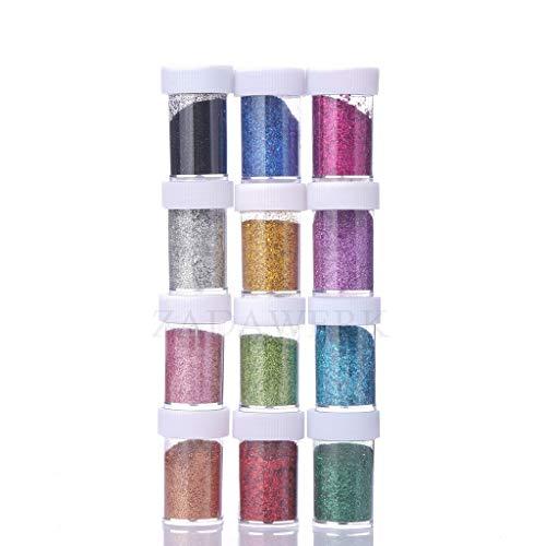ZADAWERK® Glitzerpulver - Standard - 32 ml je Farbe - 12 Farben - Streudose - Set