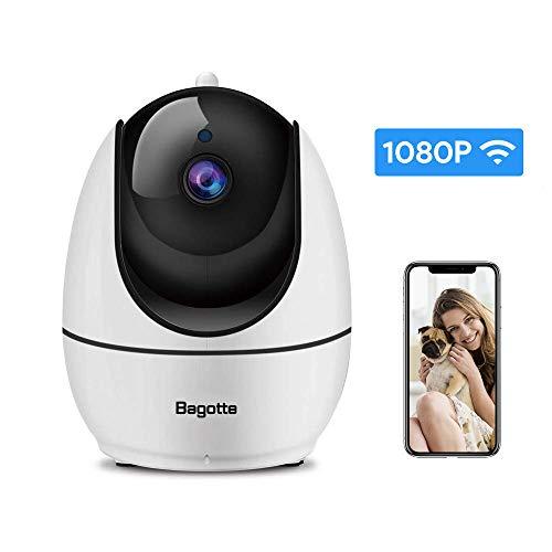 Bagotte 1080P Cámara IP WiFi, Cámara de Vigilancia WiFi Interior FHD con Visión Nocturna, con Ap Hotspot,Detección de Movimiento, Alarma Email, Audio de 2 Vías, Compatible con iOS, Android