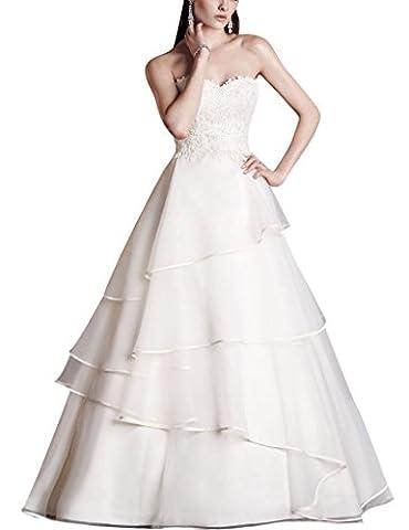HUINI Robes de Mari¨¦e en Dentelle Applique Cascading Ruffles Bridal Robes Organza Sweetheart Size 52
