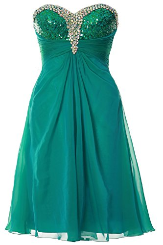 MACloth Women Strapless Sweetheart Crystal Short Prom Dress Formal Party Gown Turquoise