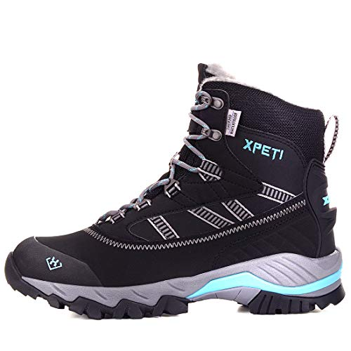XPETI Trekking Shoes, Oslo Donna Impermeabili Scarpe Montagna Alpinismo Mid Calzature Femminili Escursionismo Trail Scarponcini per Camminare Neve Nero/Blu 39