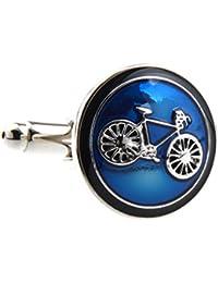 Covink® Bicicleta Bike Rider Cufflinks Ciclismo Ciclismo Símbolo Redondo Conjunto de Mancuernas Cufflinks Cuff Buttons Un par con una presentación Gift Box