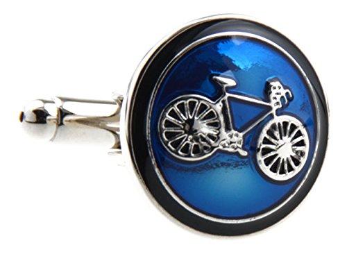 Covink® Fahrrad Manschettenknöpfe Radfahren Radfahren Symbol Runde Manschettenknopf Set Manschettenknöpfe Manschettenknöpfe Ein Paar (Blau) (Französisch-stil-shirt-form)