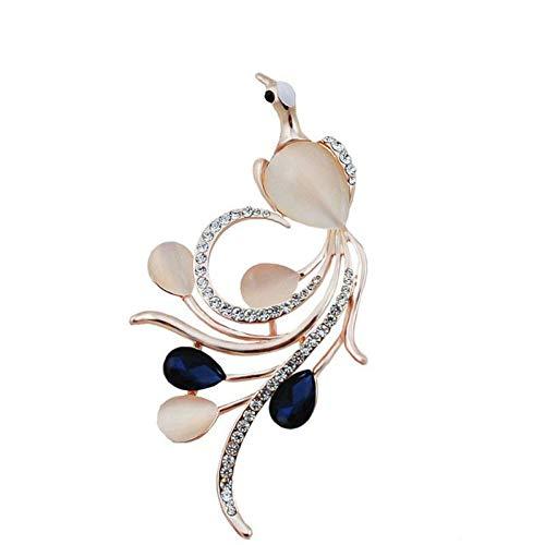 HUNANANA Strass Phoenix Broschen Für Frauen Navy Blue Farbe Bird Pins Und Broschen Fashion Hochzeit Broschen (Bird Pin Blue)