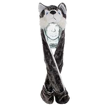 LOUDelephant imitation fourrure husky children's animal bonnet écharpe et moufles