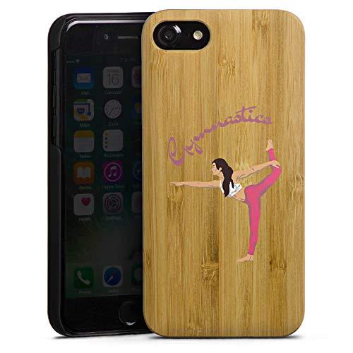 DeinDesign Holz Hülle kompatibel mit Apple iPhone 7 Wooden Case Echtholz Handyhülle Gymnastic ohne Hintergrund Hobby