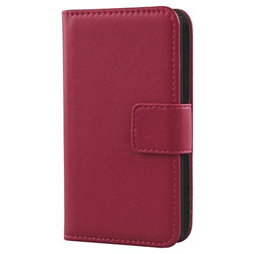 Gukas Design Echt Leder Tasche Für Medion Life X5001 Hülle Handy Flip Brieftasche mit Kartenfächer Schutz Protektiv Genuine Premium Case Cover Etui Skin (Rosa)
