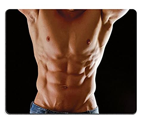 MSD Natural Rubber Mousepad IMAGE ID 32981455 Healthy muscular young man Isolated on black