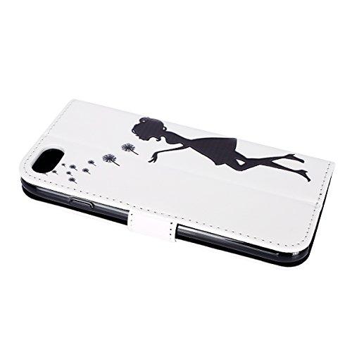 iPhone 7 Coque de téléphone Mobile ,Etsue Folio Book Style Housse Fermeture Aimanté Mode Retro Motif Étui Cuir pour iPhone 7,Flip PU Leather Walllet Case for iPhone 7 [Papillon Bleu],Carte de Visite D Fille