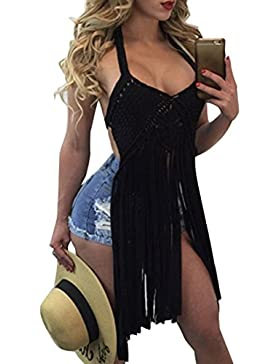 Cinturino in Spaghetti Tassle Sexy Crochet Vedere attraverso Topwear Beachwear Backless