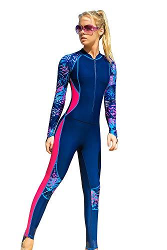 SANANG Damen Langarm Badeanzug Schwimmanzug UV-Anzug UPF>50 Schutzkleidung Sunsuit (1203Blau, X-Large)