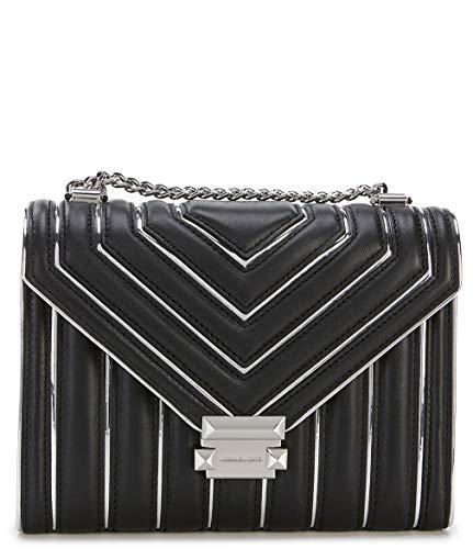 Michael Kors Große weiße schwarze und silberne Stepatentasche Black Leather