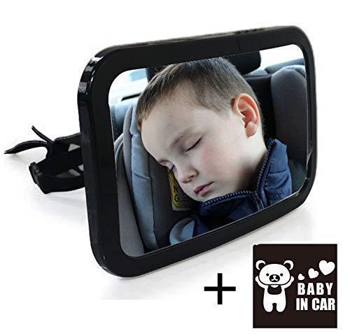 3GOODS Rétroviseur de Surveillance Miroir Auto Pour Bébé dans le Siège Arrière de Voiture avec Mouvement de 360° + Autocollant 'Baby in Car'