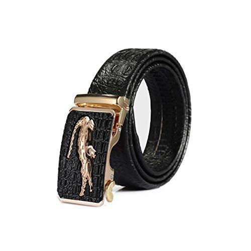 Cinturón de Cuero para Hombre,Hebilla Automática,Longitud Ajustable,Ancho del Cinturón de 3.5 Cm,El Patrón de Cocodrilo Atmosférico Resalta la Identidad,la Mejor Opción para Regalos (110cm)