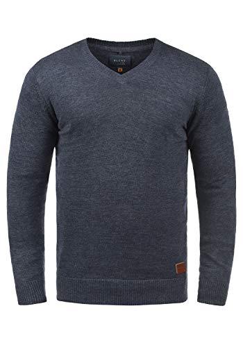 Blend Lasse Herren Strickpullover Feinstrick Pullover mit V-Ausschnitt und Melierung, Größe:S, Farbe:Ensign Blue (70260)
