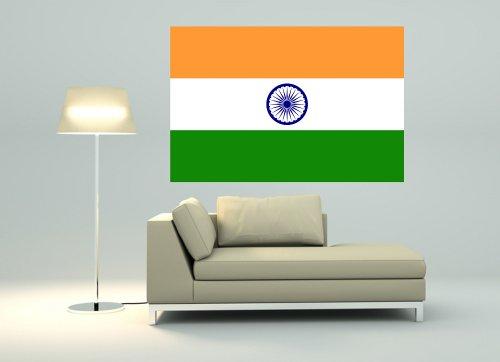 Wandtattoo Sticker Fahne Flagge Aufkleber Indien 120 x 80cm