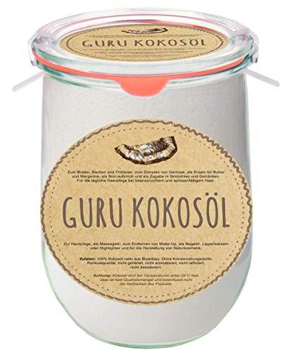 Guru Premium Kokosöl im nachhaltigen original Weck Glas (Einmachglas) (Groß)