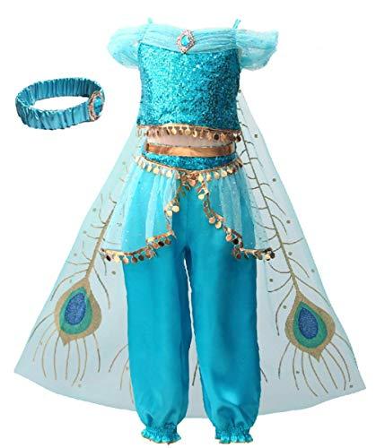 Aladdin Und Jasmine Halloween Kostüm - EMIN Mädchen Kinder Prinzessin Jasmine Aladdin