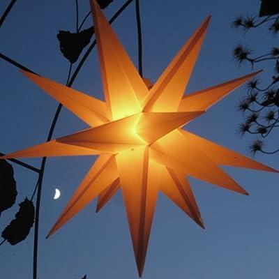Mit LED-Leuchtmittel Außenstern gelb - beleuchteter Stern 55-60 cm Weihnachtsstern Leuchtstern Faltstern von Werterhalt ums Haus auf Lampenhans.de