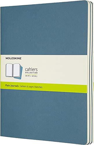 Moleskine Cahier Journal (3er Set Notizbücher mit karierten Seiten, Kartoneinband und Baumwollstickerei, Extra Large 19 x 25 cm, 120 Seiten) Lebhaftes Blau