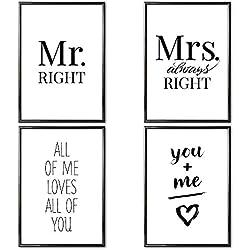 VERSCHIEDENE Poster Set 's » Paare « 4 x DIN A3 ohne Bilderrahmen | Bilder schwarz weiß mit Sprüchen für Wohnzimmer | Kunstdruck, Wandbild, Bild mit Spruch für Schlafzimmer ohne Rahmen